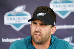 Philadelphia Eagles head coach Nick Sirianni speaks with members of the media during a joint practice with the New England Patriots at the Eagles NFL football training camp Tuesday, Aug. 17, 2021, in Philadelphia. (AP Photo/Matt Rourke)
