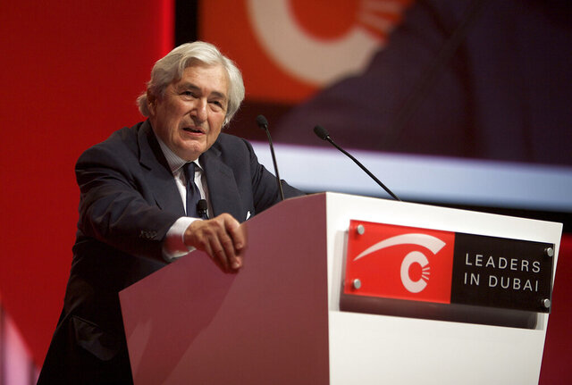 FILE- In this Non. 16, 2008, file photo, James Wolfensohn, former president of The World Bank, delivers a speech during the Leaders in Dubai Business Forum in Dubai, United Arab Emirates. Wolfensohn, who served as the president of the World Bank for 10 years, died Wednesday, Nov. 25, 2020, at his home in New York. He was 86. (AP Photo/Nousha Salimi, File)