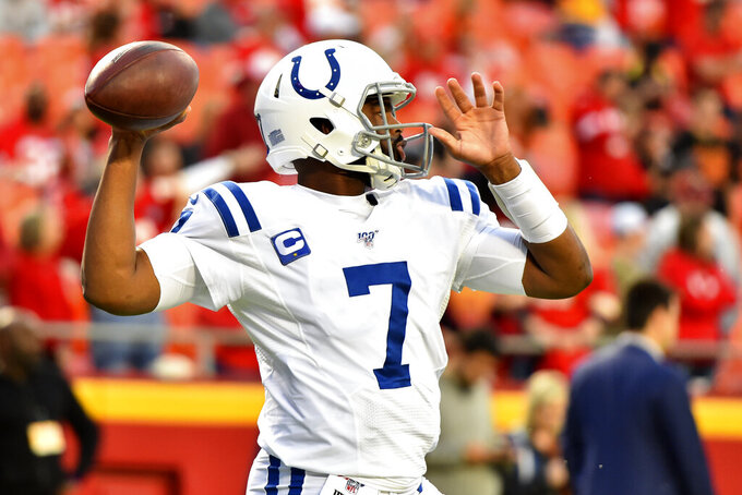 Indianapolis Colts quarterback Jacoby Brissett warms up for the team's NFL football game against the Kansas City Chiefs in Kansas City, Mo., Sunday, Oct. 6, 2019. (AP Photo/Ed Zurga)