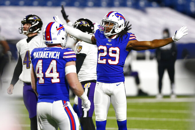 Buffalo Bills cornerback Josh Norman (29) reacts after a Baltimore Ravens missed field goal attempt during the first half of an NFL divisional round football game Saturday, Jan. 16, 2021, in Orchard Park, N.Y. (AP Photo/John Munson)