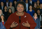 FILE - In this pool image from video, Stacey Abrams delivers the Democratic party's response to President Donald Trump's State of the Union address, Tuesday, Feb. 5, 2019 from Atlanta. Georgia Gov. Brian Kemp served as the state's chief election officer while he ran for governor in 2018. Abrams has alleged he mismanaged the election which she narrowly lost, an allegation which Kemp denies.  (Pool video image via AP)