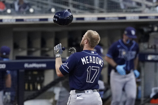 Tampa Bay Rays' Austin Meadows tosses his helmet after flying out during the ninth inning in Game 5 of a baseball American League Championship Series against the Houston Astros, Thursday, Oct. 15, 2020, in San Diego. (AP Photo/Jae C. Hong)