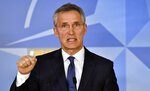 NATO Secretary General Jens Stoltenberg speaks during a media conference at NATO headquarters in Brussels on Saturday, April 14, 2018. Envoys of the NATO alliance met in a special session Saturday and were briefed by the United States, Britain and France on the military strike they launched against Syria. (AP Photo/Geert Vanden Wijngaert)
