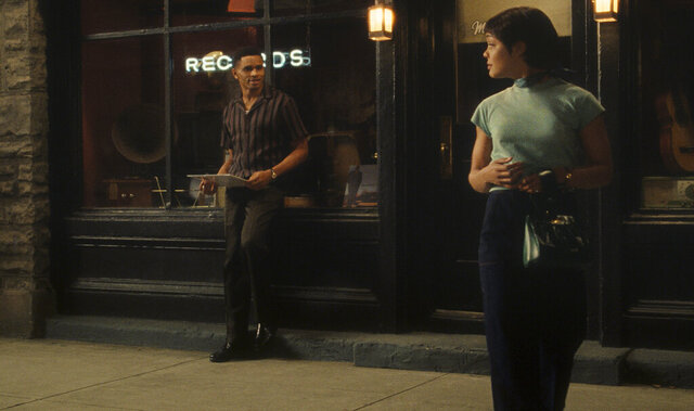 Nnamdi Asomugha, left, and Tessa Thompson appear in a scene from