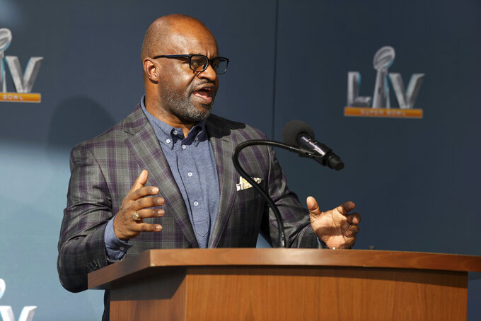 Executive director of the NFL Players Association DeMaurice Smith speaks during a press conference ahead of Super Bowl LV, Thursday, Feb. 4, 2021 in Tampa, Fla. (Perry Knotts via AP)