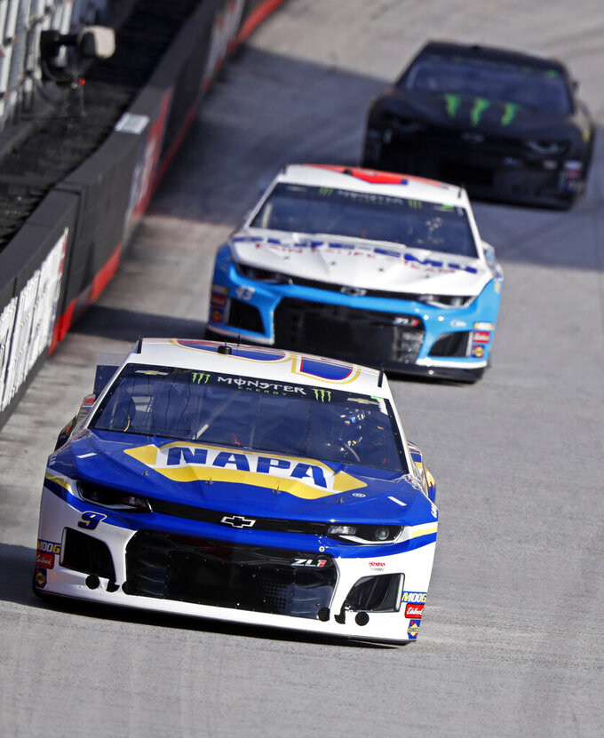 Driver Chase Elliott (9) leads Bubba Wallace (43) and Kurt Busch (1) during practice for a NASCAR Cup Series auto race, Saturday, April 6, 2019, in Bristol, Tenn. (AP Photo/Wade Payne)