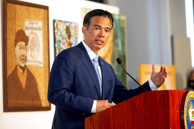 California Assemblyman Rob Bonta speaks during a news conference shortly after California Gov. Gavin Newsom announced his nomination for state's attorney general, Wednesday, March 24, 2021, in San Francisco. (AP Photo/Noah Berger)