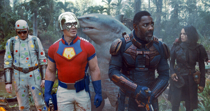 """This image released by Warner Bros. Pictures shows, from left, David Dastmalchian, John Cena, Idris Elba and Daniela Melchoir in a scene from """"The Suicide Squad."""" (Warner Bros. Pictures via AP)"""