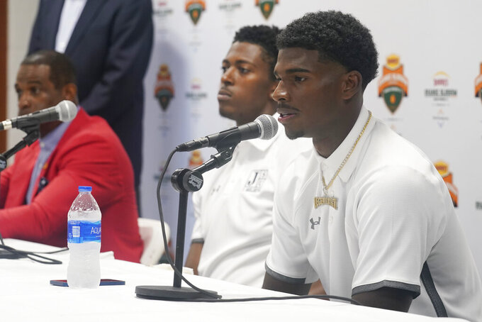 Jackson State University quarterback Shedeur Sanders speaks during an NCAA college football news conference, Friday, Sept. 3, 2021, in Miami Gardens, Fla. Jackson State University and Florida A&M will play in the Orange Blossom Classic on Sunday. (AP Photo/Marta Lavandier)