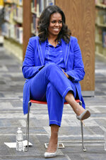 Former first lady Michelle Obama speaks with students about her upcoming book