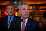 House Minority Leader Kevin McCarthy, R-Calif., speaks to the media at a diner on Monday, May 4, 2021, in Marietta, Ga. McCarthy and other Republicans decried Major League Baseball's decision to move the All-Star game out of Georgia amid concerns about changes to the state's voting laws. (AP Photo/Ron Harris)