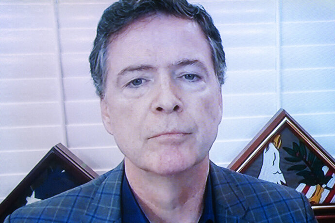 Former FBI director James Comey testifies via videoconference during a Senate Judiciary Committee hearing on Capitol Hill in Washington, Wednesday, Sept. 30, 2020, to examine the FBI