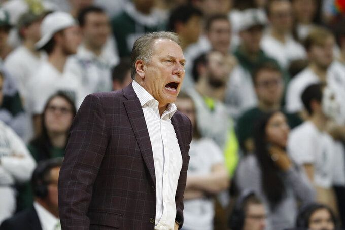 Michigan State head coach Tom Izzo yells during the first half of an NCAA college basketball game against Northwestern, Wednesday, Jan. 29, 2020, in East Lansing, Mich. (AP Photo/Carlos Osorio)