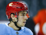 Calgary Flames' Johnny Gaudreau looks on during practice in Calgary, Alberta, Tuesday, April 9, 2019. Calgary takes on the Colorado Avalanche in a first-round NHL hockey playoff series beginning Thursday, April 11. (Jeff McIntosh/The Canadian Press via AP)
