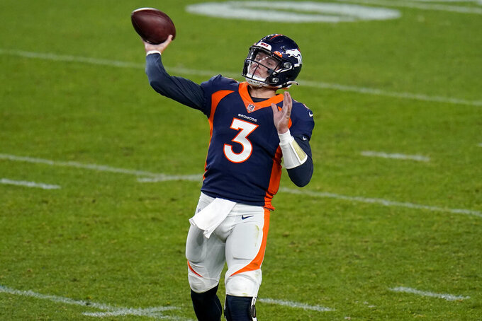Denver Broncos quarterback Drew Lock (3) throws against the Tennessee Titans during the second half of an NFL football game, Monday, Sept. 14, 2020, in Denver. (AP Photo/Jack Dempsey)