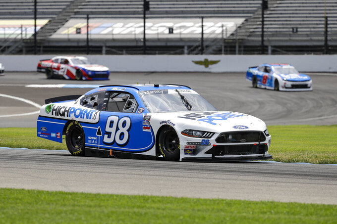 NASCAR Xfinity Series driver Chase Briscoe drives through a turn during the NASCAR Xfinity Series auto race at Indianapolis Motor Speedway in Indianapolis, Saturday, July 4, 2020. (AP Photo/Darron Cummings)