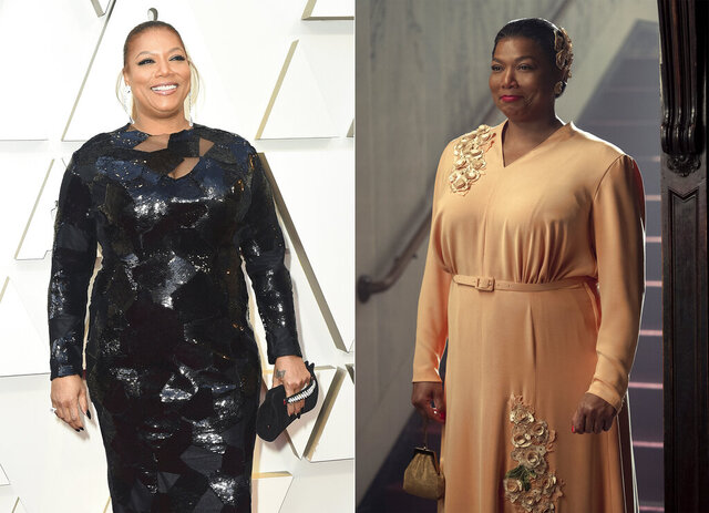 This combination photo shows actress-singer Queen Latifah at the Oscars in Los Angeles on Feb. 24, 2019, left, and Queen Latifah portraying