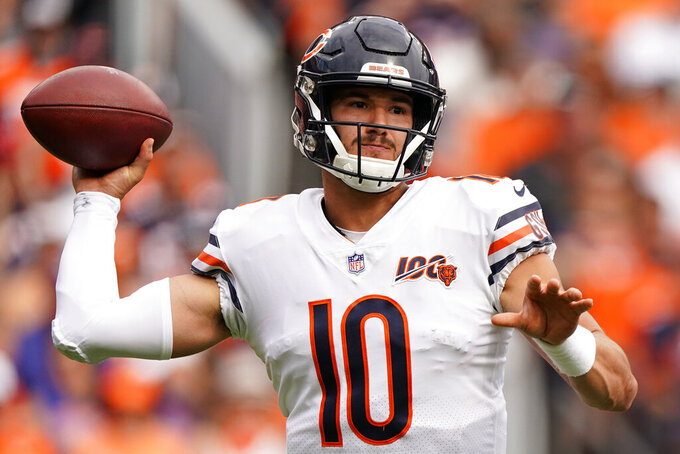 Chicago Bears quarterback Mitchell Trubisky (10) throws against the Denver Broncos during the first half of an NFL football game, Sunday, Sept. 15, 2019, in Denver. (AP Photo/Jack Dempsey)