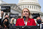 Rep. Sylvia Garcia, D-Texas, speaks during a news conference about the