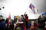 Backers of former President Evo Morales block a highway at El Alto, Bolivia, Thursday, Nov. 14, 2019.  (AP Photo/Natacha Pisarenko)