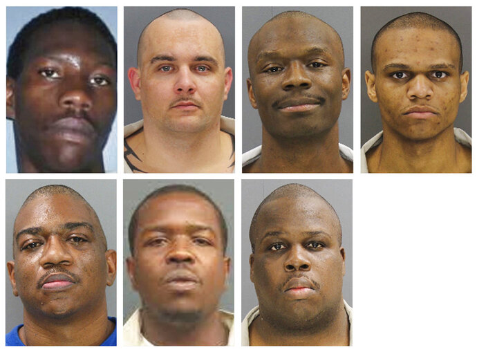 These undated photos provided by the South Carolina Department of Corrections shows, from top row from left, Corey Scott, Eddie Casey Gaskins, Raymond Angelo Scott and Damonte Rivera; bottom row from left, Michael Milledge, Cornelius McClary and Joshua Jenkins. The seven inmates were killed, and at least 17 prisoners wounded, in a riot at the Lee Correctional Institution on early Monday, April 16, 2018, in Bishopville, S.C. (South Carolina Department of Corrections via AP)