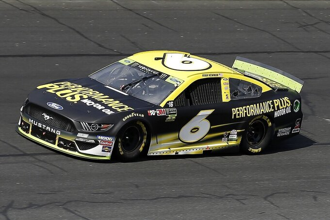 Ryan Newman (6) drives through Turn 4 during the NASCAR Cup Series auto race at Charlotte Motor Speedway in Concord, N.C., Sunday, Sept. 29, 2019. (AP Photo/Gerry Broome)