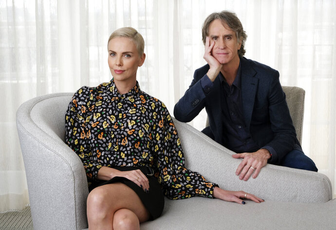 Charlize Theron, left, who plays former Fox News anchor Megyn Kelly in
