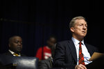 Democratic presidential contender Tom Steyer listens during a scripture reading at an NAACP rally, Sunday, Jan. 19, 2020, at South Carolina State University in Orangeburg, S.C. (AP Photo/Meg Kinnard)