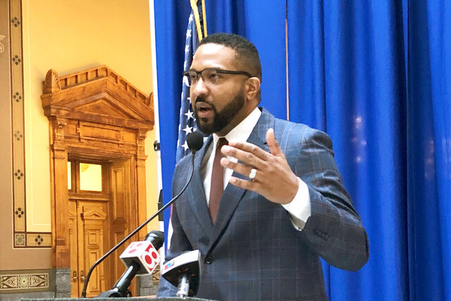 Indiana state Sen. Eddie Melton, D-Gary, speaks during a March 5, 2020, news conference at the Statehouse in Indianapolis. An Indiana State Police spokesman said Tuesday, July 14, 2020, that the agency was reviewing allegations that a white Capitol Police officer reached for his handgun while confronting Melton inside the Statehouse on Saturday, July 11. (AP Photo/Tom Davies)