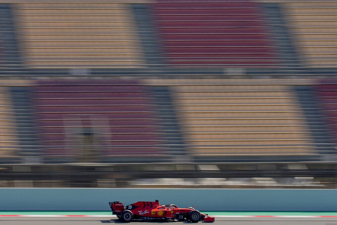 Ferrari driver Sebastian Vettel of Germany drives during a Formula One pre-season testing session at the Barcelona Catalunya racetrack in Montmelo, outside Barcelona, Spain, Friday, March 1, 2019. (AP Photo/Joan Monfort)