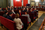 Twelve separatist leaders sit on the bench during the trial at the Spanish Supreme Court in Madrid, Tuesday, Feb. 12, 2019. Spain is bracing for the nation's most sensitive trial in four decades of democracy this week, with a dozen Catalan separatists facing charges including rebellion over a failed secession bid in 2017. (AP Photo/J.J. Guillen, Pool)