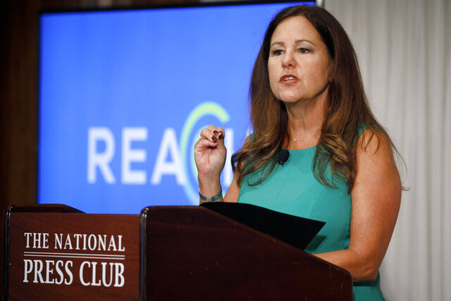 Second lady Karen Pence speaks at the National Press Club about a campaign to raise awareness on the risks of veterans suicide, Tuesday, July 7, 2020, in Washington. (AP Photo/Jacquelyn Martin)
