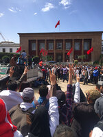 Thousands of Moroccan teachers shout in front of the Moroccan Parliament during a protest and the latest outbreak of anger at low-wage, temporary teaching contracts in Rabat, Morocco, Sunday March 24, 2019. The protesters demand respect for their profession and higher wages.( AP Photo/Amira El Masaiti)