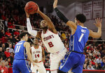 St. John's Shamorie Ponds (2) shoots over Creighton's Davion Mintz (1) during the second half of an NCAA college basketball game Wednesday, Jan. 16, 2019, in New York. St. John's won 81-66. (AP Photo/Frank Franklin II)