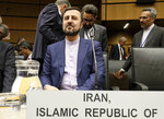 Iran's Ambassador to the International Atomic Energy Agency, IAEA, Gharib Abadi, waits for the start of the IAEA board of governors meeting at the International Center in Vienna, Austria, Wednesday, July 10, 2019. (AP Photo/Ronald Zak)