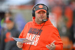 Cleveland Browns head coach Freddie Kitchens gestures during the second half of an NFL football game against the Baltimore Ravens, Sunday, Dec. 22, 2019, in Cleveland. (AP Photo/David Richard)
