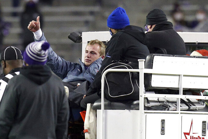 Louisiana Tech quarterback Luke Anthony (9) gestures as he is driven off the field after sustaining an injury in the fourth quarter during an NCAA college football game against TCU, Saturday, Dec. 12, 2020. (AP Photo/ Richard W. Rodriguez)