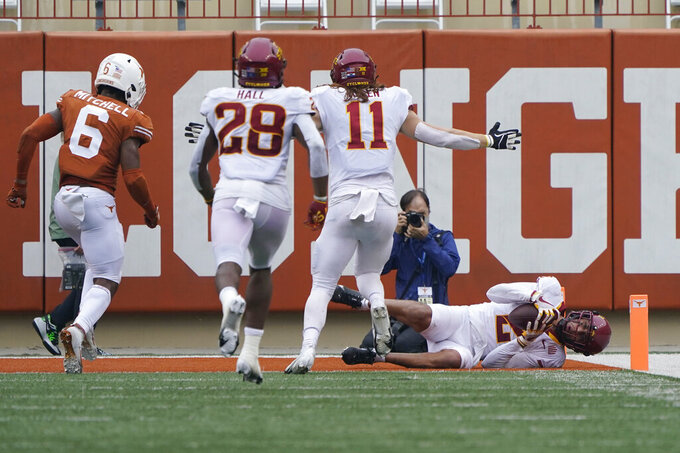 Iowa State wide receiver Sean Shaw Jr. (2) makes a catch for a touchdown against Texas during the first half of an NCAA college football game, Friday, Nov. 27, 2020, in Austin, Texas. (AP Photo/Eric Gay)