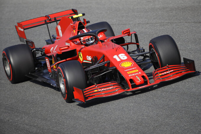 Ferrari driver Charles Leclerc of Monaco steers his car during the second practice session for Italy's Formula One Grand Prix, at the Monza racetrack in Monza, Italy, Friday, Sept. 4 , 2020. (Luca Bruno/Pool via AP)