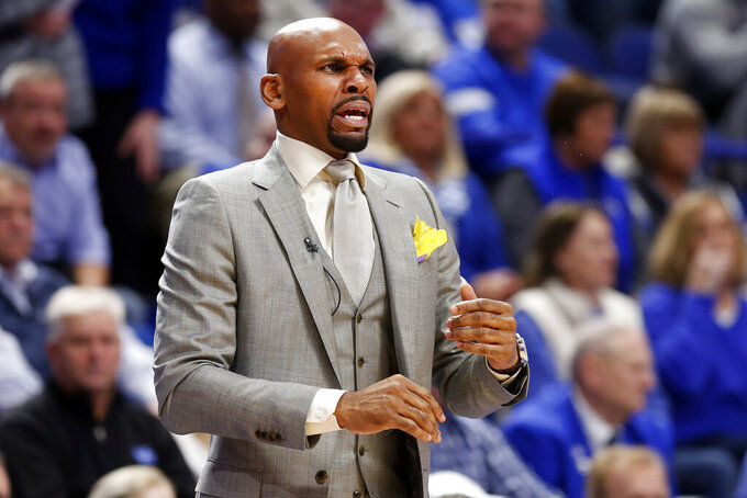 Vanderbilt coach Jerry Stackhouse talks to his team during the first half of an NCAA college basketball game against Kentucky in Lexington, Ky., Wednesday, Jan 29, 2020. (AP Photo/James Crisp)