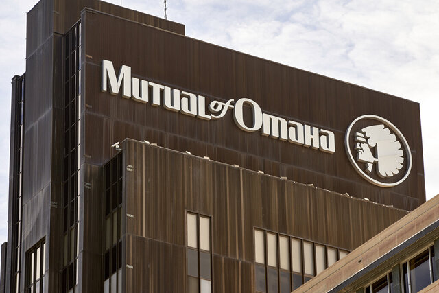 The Mutual of Omaha logo is seen at the company's corporate headquarters in Omaha, Neb., Friday, July 17, 2020. Insurance company Mutual of Omaha has announced it will replace its longtime corporate logo, which features a depiction of a Native American chief. (AP Photo/Nati Harnik)
