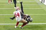 New Orleans Saints cornerback Patrick Robinson intercepts a pass intended for San Francisco 49ers wide receiver Kendrick Bourne (84) in the second half of an NFL football game in New Orleans, Sunday, Nov. 15, 2020. The Saints won 27-13. (AP Photo/Brett Duke)