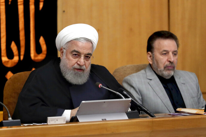In this photo released by the office of the Iranian Presidency, President Hassan Rouhani speaks in a cabinet meeting in Tehran, Iran, Wednesday, Sept. 4, 2019. Rouhani reiterated a threat that Tehran would take additional steps away from the 2015 nuclear accord on Friday and accelerate its nuclear activities if Europe fails to provide a solution, calling it Iran's third,