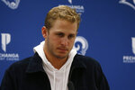 Los Angeles Rams quarterback Jared Goff answers a question during a news conference following an NFL football game against the Dallas Cowboys in Arlington, Texas, Sunday, Dec. 15, 2019. (AP Photo/Michael Ainsworth)