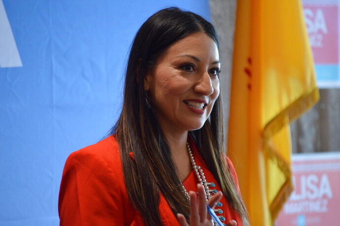 FILE - In this Nov. 20, 2019 file photo, Republican Elisa Martinez speaks to supporters in Albuquerque, N.M., after she announced she will seek the GOP nomination for an open U.S. Senate seat in New Mexico. The Latina Republican and member of the Navajo Nation is part of the Republican Party of New Mexico's most diverse set of candidates running in the state primaries in its history. (AP Photo/Russell Contreras, File)