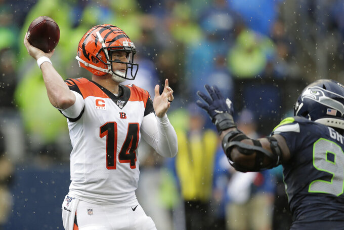 Cincinnati Bengals quarterback Andy Dalton (14) passes against the Seattle Seahawks during the second half of an NFL football game Sunday, Sept. 8, 2019, in Seattle. (AP Photo/Stephen Brashear)