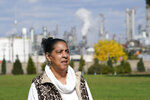 Theresa Landrum is photographed near the Marathon refinery, Friday, Oct. 16, 2020, in Detroit. Landrum  wasn't impressed when told that Environmental Protection Agency chief Andrew Wheeler had pledged $200,000 to promote