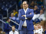 Notre Dame head coach Mike Brey watches an NCAA college basketball game against Presbyterian, Monday, Nov. 18, 2019,  in South Bend, Ind. (Michael Caterina/South Bend Tribune via AP)