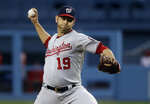 Washington Nationals starting pitcher Anibal Sanchez throws to the Los Angeles Dodgers during the first inning of a baseball game Friday, May 10, 2019, in Los Angeles. (AP Photo/Marcio Jose Sanchez)