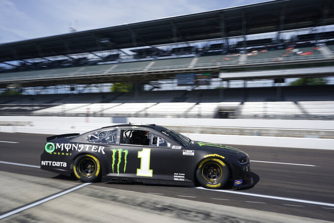 Kurt Busch drives on pit lane during practice for the NASCAR Cup Series auto race at Indianapolis Motor Speedway, Saturday, Aug. 14, 2021, in Indianapolis. (AP Photo/Darron Cummings)
